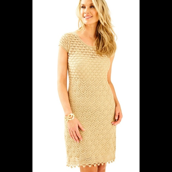 185a2012516a Lilly Pulitzer Gold Paley Sweater Dress NWT